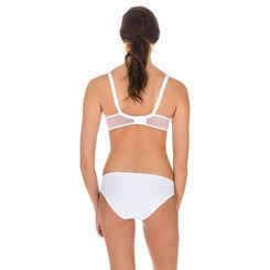 Generous Mod embroidered bikini knickers in white, , DIM