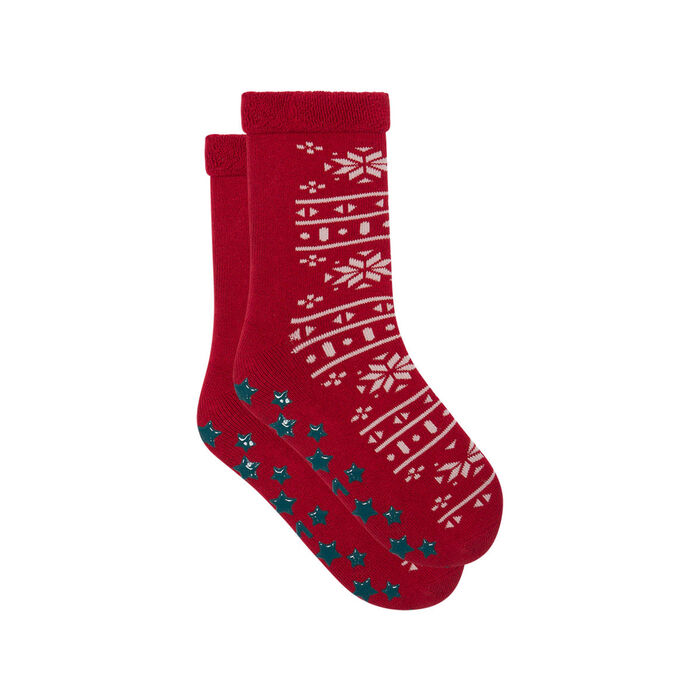 Non-slip Red Cocoon Christmas Flake Kids Socks, , DIM