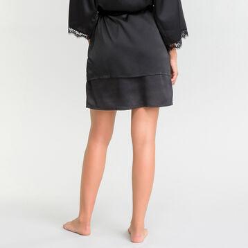 Black Satin and Lace Kimono - Glamour, , DIM