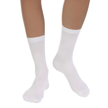 Pack of 2 pairs of white Light Coton socks for women, , DIM
