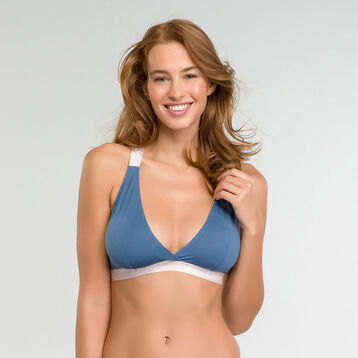 Blue triangle bra in cotton - Les Pockets Limited Edition, , DIM