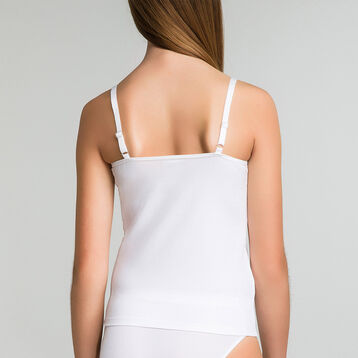 White DIM Girl stretch cotton camisole - DIM