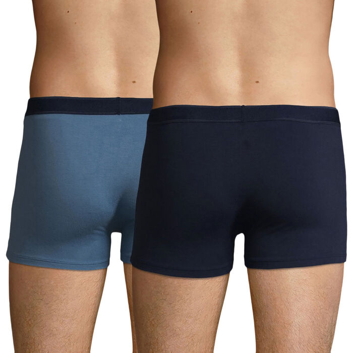 Lot de 2 boxers Coton Stretch Bleu Jean et Bleu Denim Soft Power, , DIM