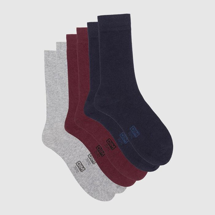 Lot de 3 paires de chaussettes homme bleu bordeaux gris Basic Coton, , DIM