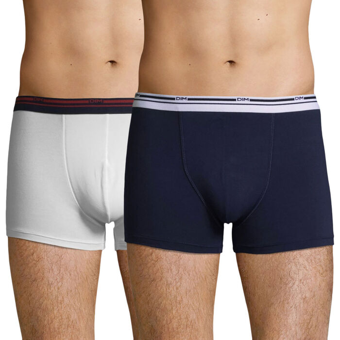 Lot de 2 boxers coton stretch Blanc et Bleu Denim Daily Colors, , DIM