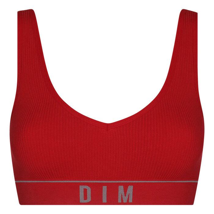 Dim Original Retro Women's ribbed-knit bra Grenade Red, , DIM