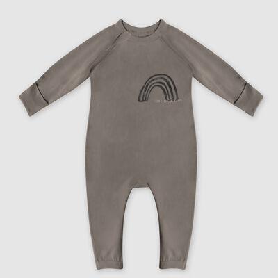 Dim Baby Rainbow heart print baby pyjama in khaki organic cotton, , DIM