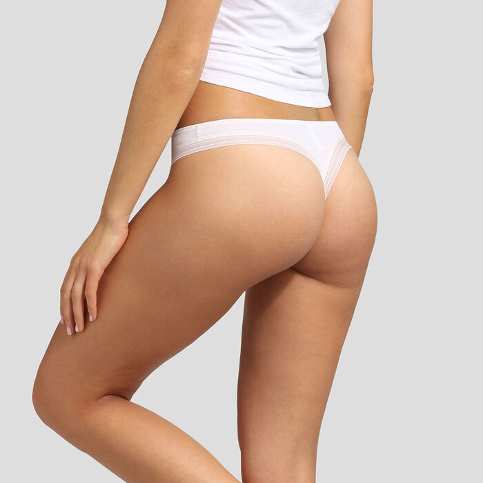 Pearly white microfiber thong Dim Panty Box, , DIM