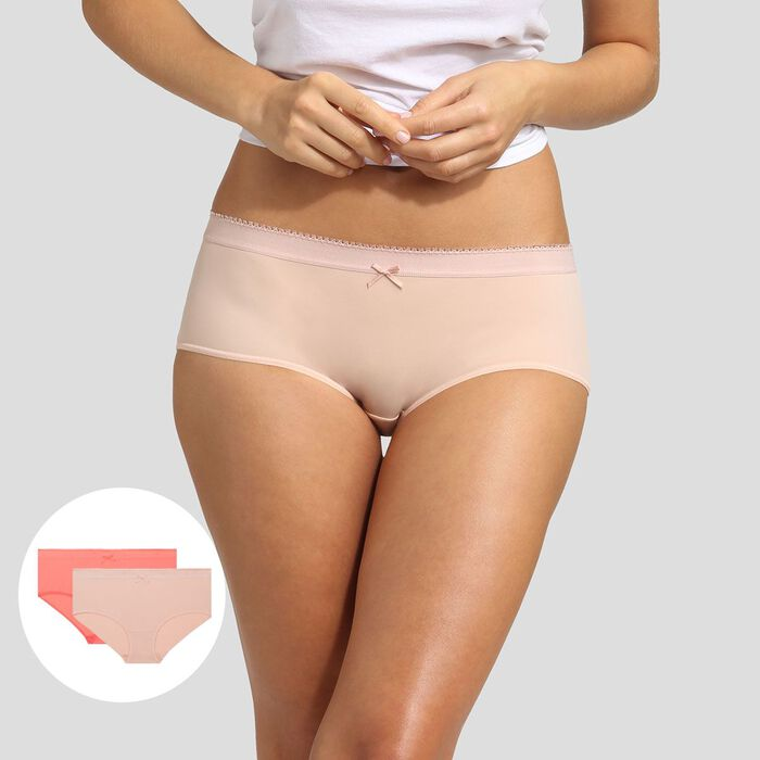 Lot de 2 boxers skin rose et corail rosé Les Pockets Microfibre de Dim, , DIM