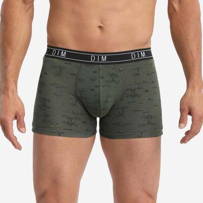 Dim Fancy Men's khaki green boxer briefs in stretch cotton with travel print, , DIM