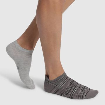 2 pack men's ankle socks Light Taupe and Heather Grey Coton Style, , DIM