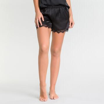 Satin black pyjama shorts with lace - Glamour, , DIM