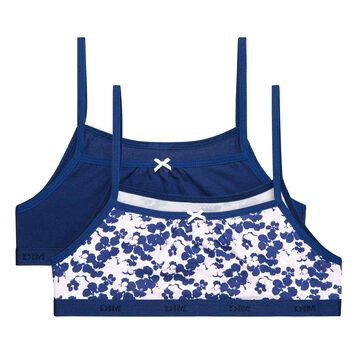 Set of 2 DIM Girl Pocket Blue Flower bras - DIM