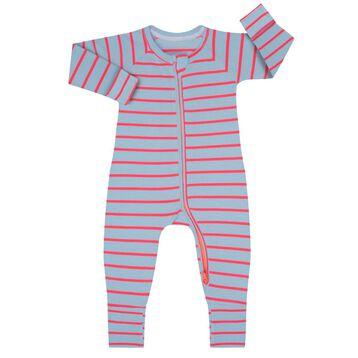 Cotton Stretch Zipped Pyjama with blue and pink Dim Baby, , DIM
