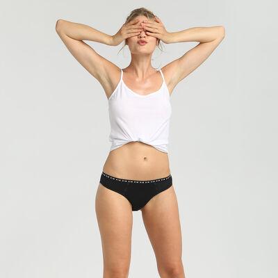 Culotte menstruelle lavable en coton noir Flux moyen Dim Protect, , DIM