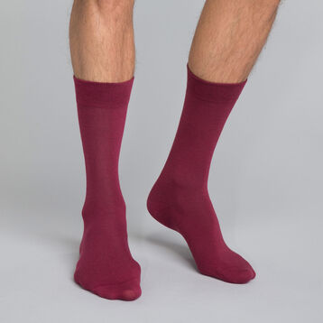 Burgundy Men's Crew Socks in cotton, , DIM