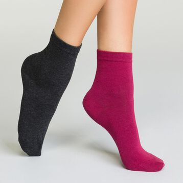 Pack of women's Basic Cotton ankle socks Dark Heather Grey and Burgundy, , DIM