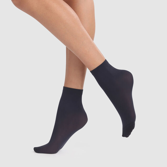 Dim Style 2 pack navy blue opaque velvet socks 50D , , DIM