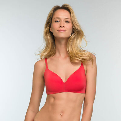 Casual red microfiber triangle push up bra InvisiFree, , DIM