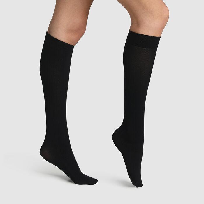 Black Spécial Boots microfibre ankle socks for ankle boots, , DIM