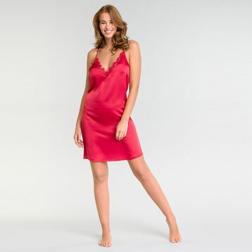 Ruby pink nightie with lace – Glamour, , DIM