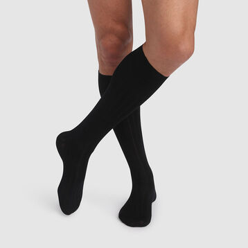 Men's black long socks made of Scottish mercerized cotton yarn, , DIM