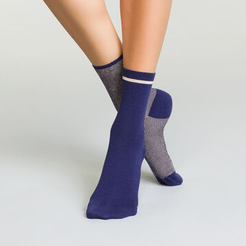 2 pack galaxy blue women's socks with striped lurex , , DIM