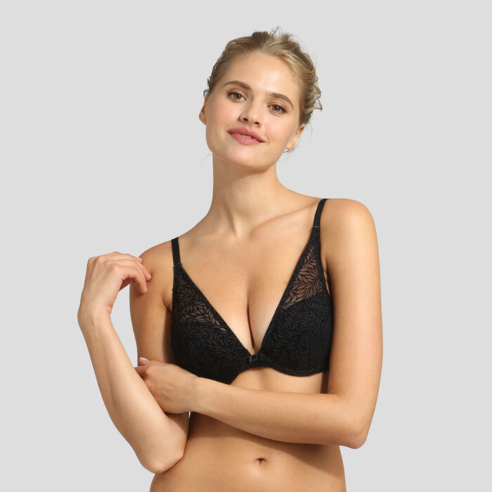 Velvet black push-up triangle bra Dim Sublim , , DIM