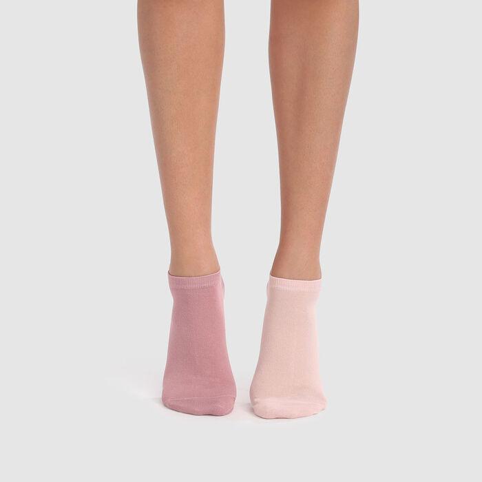 Lot de 2 paires de socquettes courtes en coton rose dragée Basic Coton, , DIM