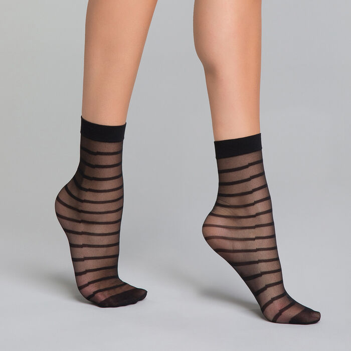 Transparent black striped socks - Dim Style, , DIM