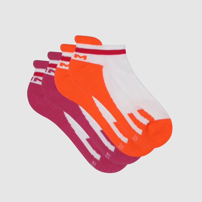 Lot de 2 paires de socquettes enfant rétro Rose Corail Dim Sport , , DIM
