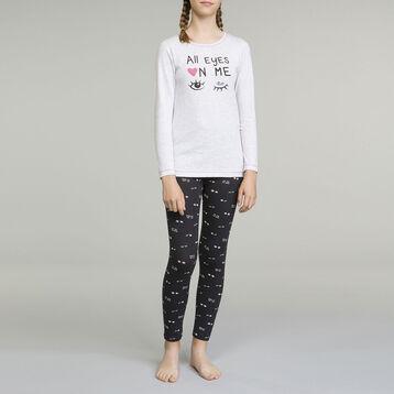 Pyjama manches longues pour fille 2 pièces Gris Chiné Clair , , DIM