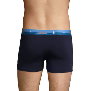 Stretch cotton trunks with printed waistband Denim Blue, , DIM