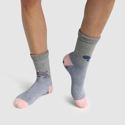 """Теплые детские носки с защитой от скольжения с принтом """"Осьминог"""" Dim Cocoon, , DIM"""