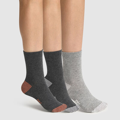 Pack of  3 pairs of mix and match children's socks Cotton Grey Style, , DIM