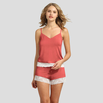 Dim Cosy Lady marsala lace and modal cotton camisole , , DIM
