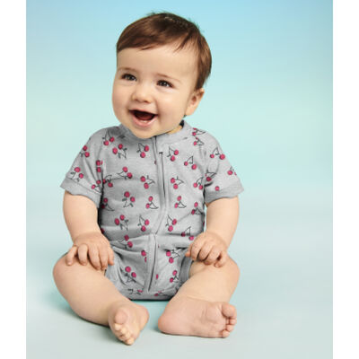 Dim Baby Grey cotton stretch baby romper with zip in cherry motif, , DIM
