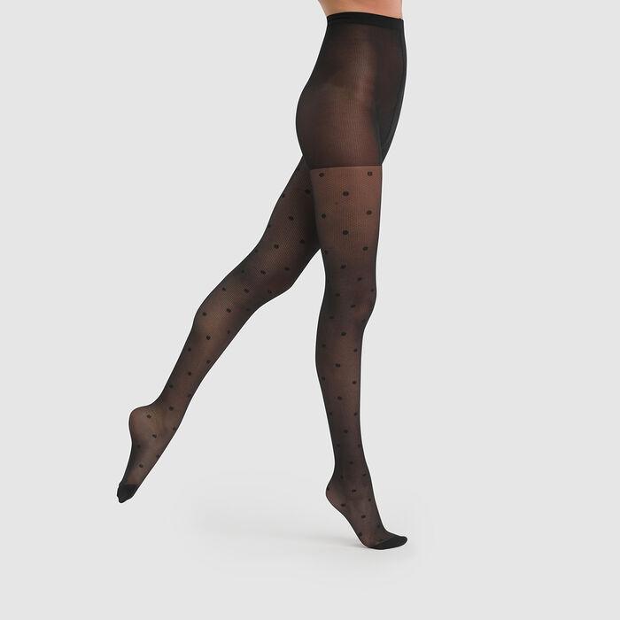 Dim Style 27D black plumetis on fishnet tights, , DIM
