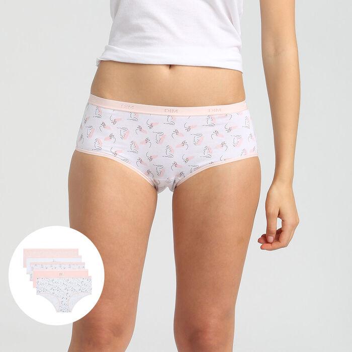 Dim Les Pockets Cotton pack of 5 stretch cotton shorties with romance print, , DIM