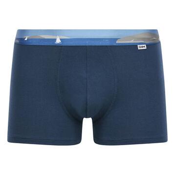 Stretch cotton trunks with printed waistband Klein Blue, , DIM