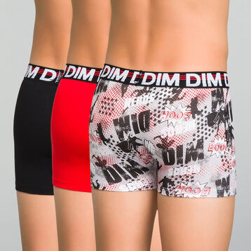 Lot de 3 boxers garçon noir, rouge et imprimé - Trio DIM, , DIM