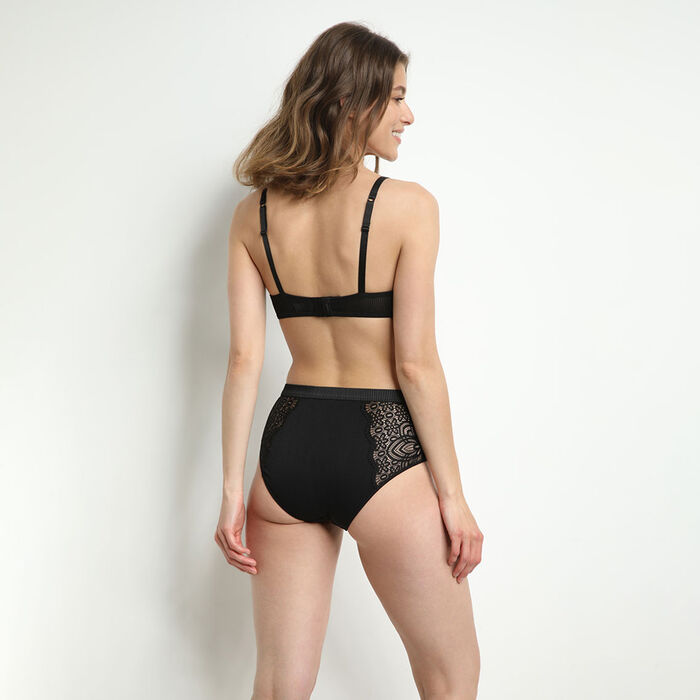 Jolie Madame Black microfiber and lace push up bra, , DIM