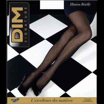 Collant noir DIM SIGNATURE Illusion résille 20D-DIM
