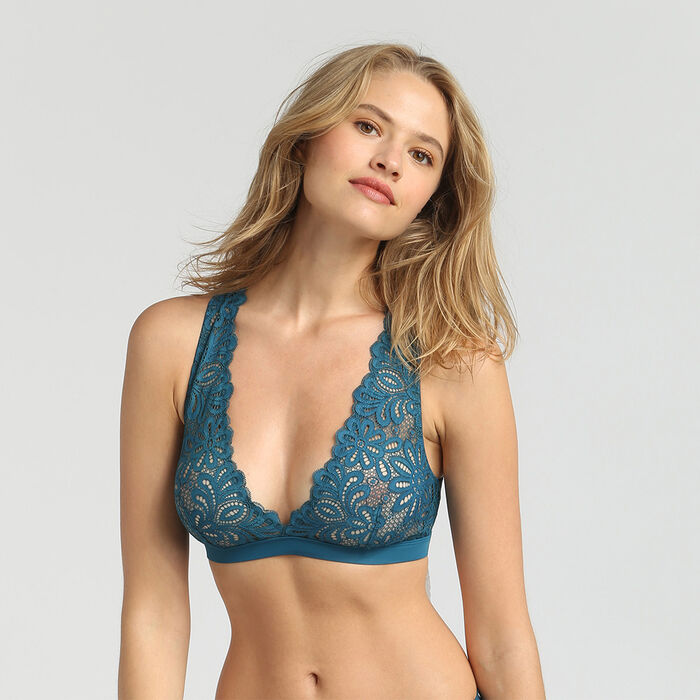 Non-wired organic blue lace bralette Daily Glam, , DIM