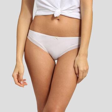 Pearly white microfiber thong Dim Panty Box, , DIM