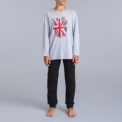 DIM Union Jack 2-piece grey T-shirt and black pyjama pants - DIM