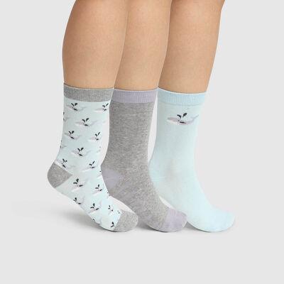 Lot de 3 paires de chaussettes motif baleine Gris Kids Coton Style, , DIM