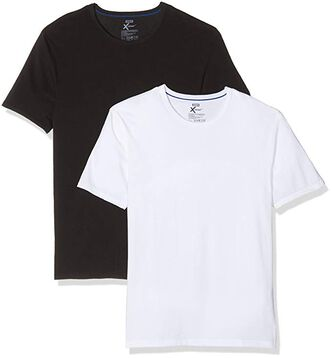 Pack of 2 white and black X-Temp crew-neck T-shirts, , DIM