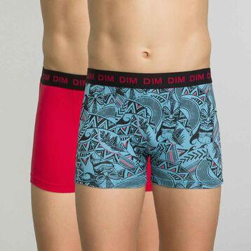 Lot de 2 boxers acqua et rouge - dim boy, , DIM