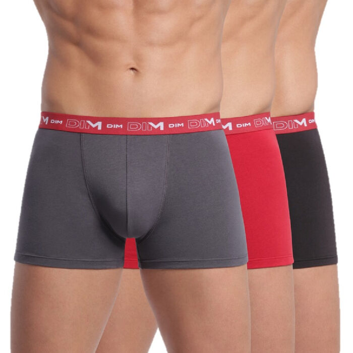 Lot de 3 boxers gris, rouge chili et noir Coton Stretch, , DIM